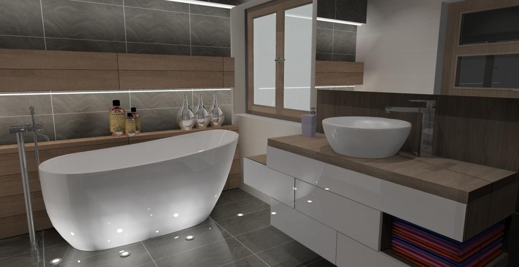 łazienka, szary, drewno, szafki biały połysk, okno, półki w ścianie nad wanną