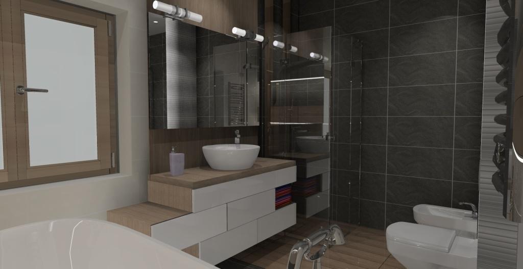 łazienka-biały-drewno-szary-umywalka-nablatowa-blat drewno