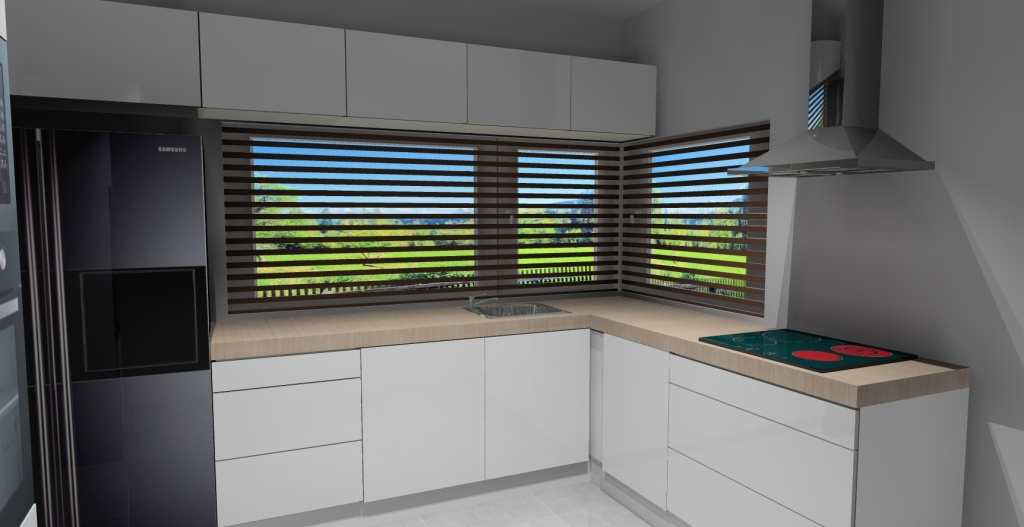 Kuchnia-biała-okno-narożne-blat-drewniany