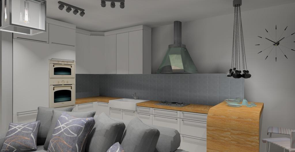 Szaro-biały salon w stylu skandynawskim, barek, sofa, oświetlenie