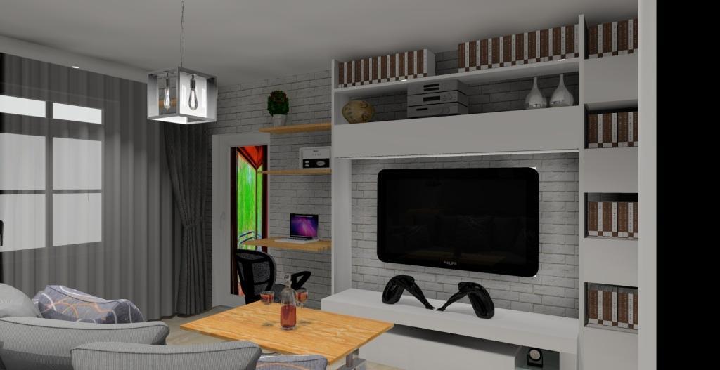 Szaro-biały salon w stylu skandynawskim, meblościanka biała, stolik kawowy
