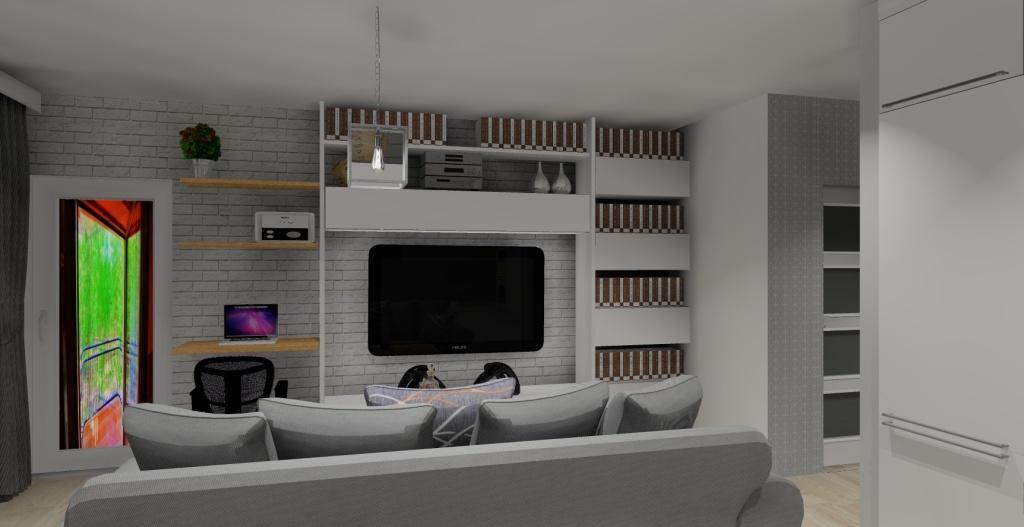 Szaro-biały salon w stylu skandynawskim, biurko, meblościanka biała, półki na książki