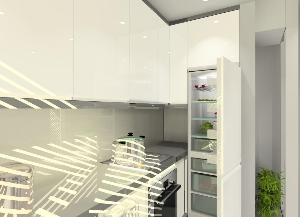 Projekt kuchni biało szarej, lodówka do zabudowy, stół