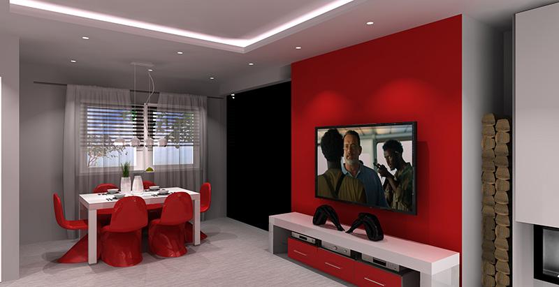 salon-bialo-szary-czerwony-jadalnia-sciana-tv-czerwona