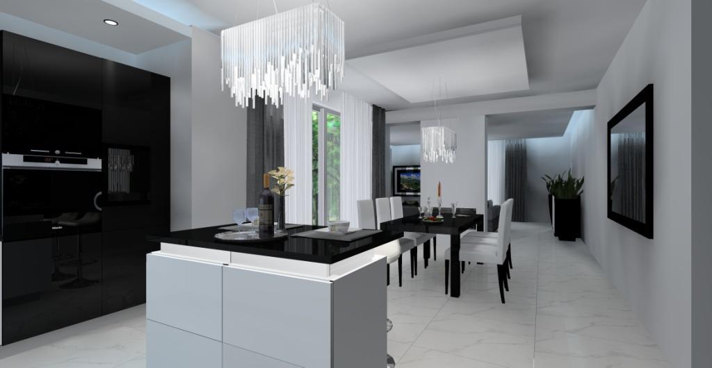 Salon z kuchnią – aranżacja w stylu glamour : biały, czarny,szary